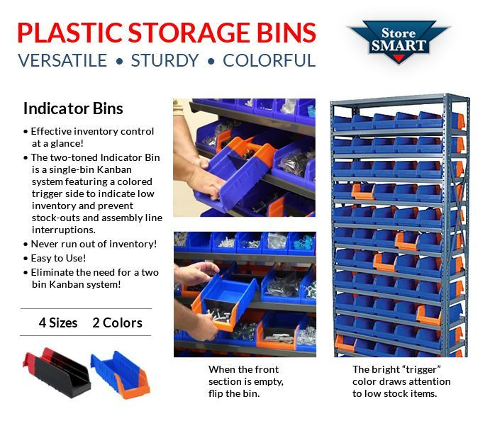 Our Two Toned Indicator Bins Are A Single Bin Kanban System Featuring A Colored Trigger Side To Indicate Low Inventory And Pr Kanban Plastic Storage Bins Bins