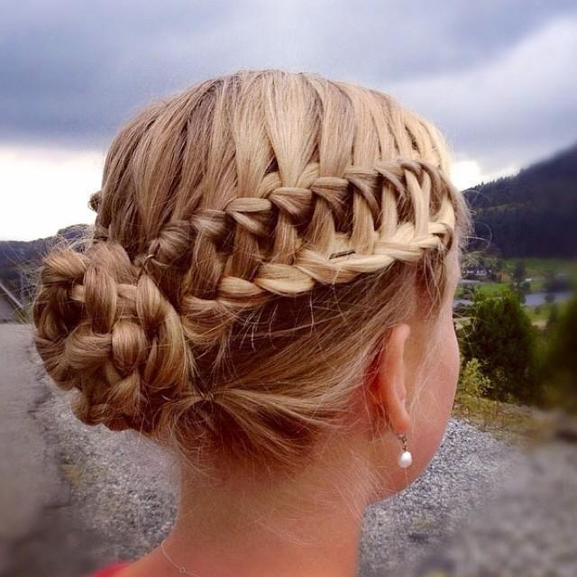 waterfall braid into lace braid updo