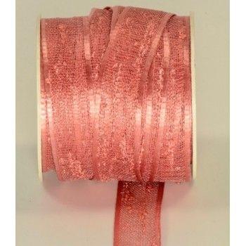 nastro organza fiammata mm.15 rosa antico