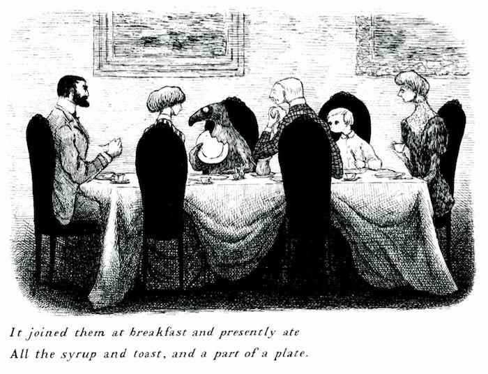 Иллюстрация Эдварда Гори из книги «Сомнительный гость» («The Doubtful Guest»), 1957