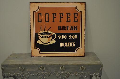 coffee break retro vintage metal sign tin sign 50s enamel stores.ebay.co.uk/bellsvintageboutique