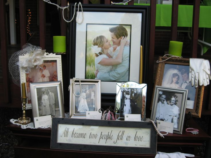 I love this idea of having wedding photos of your family displayed.  A great way to honor parents and grandparents.