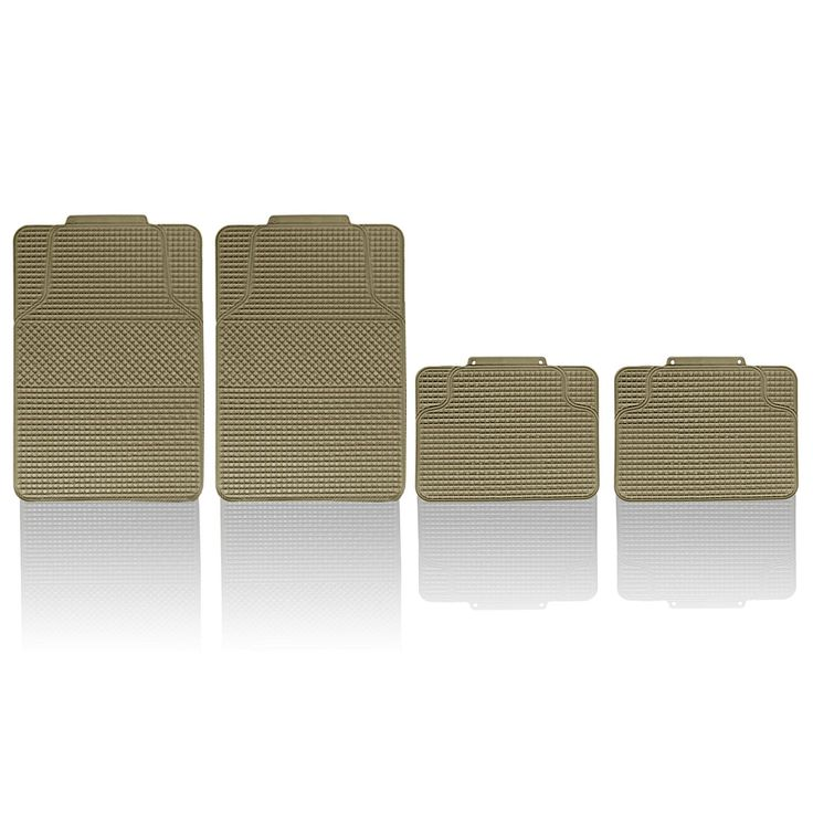 FH Group Beige Anti-slip Modern Checker Style All Weather Auto Floor Mats (Beige), Tan
