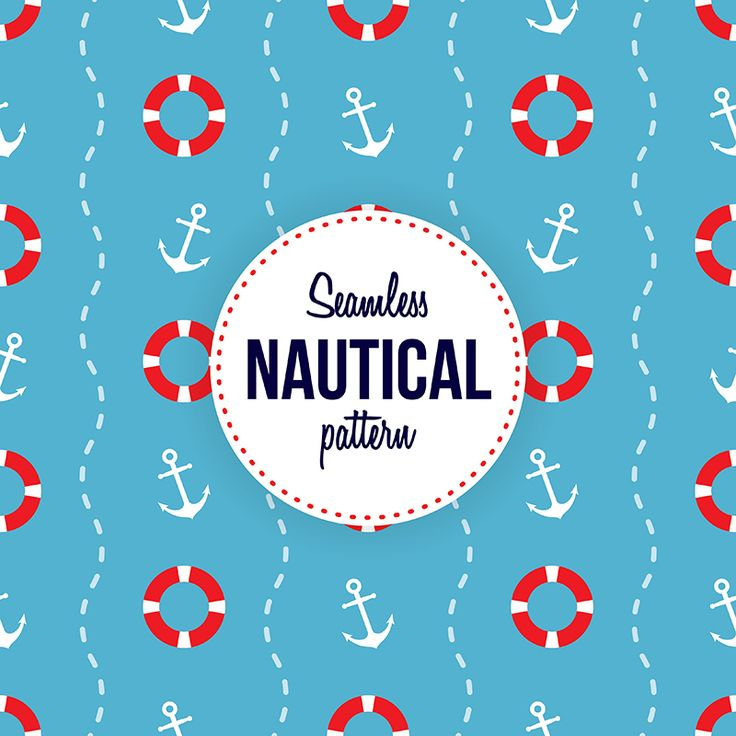 Seamless nautical pattern with life buoys and anchors
