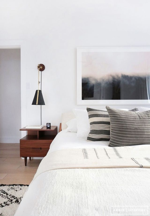 Bedroom Setup   Abstract Art Above Bed, Mid Century Side Table, Pendant,