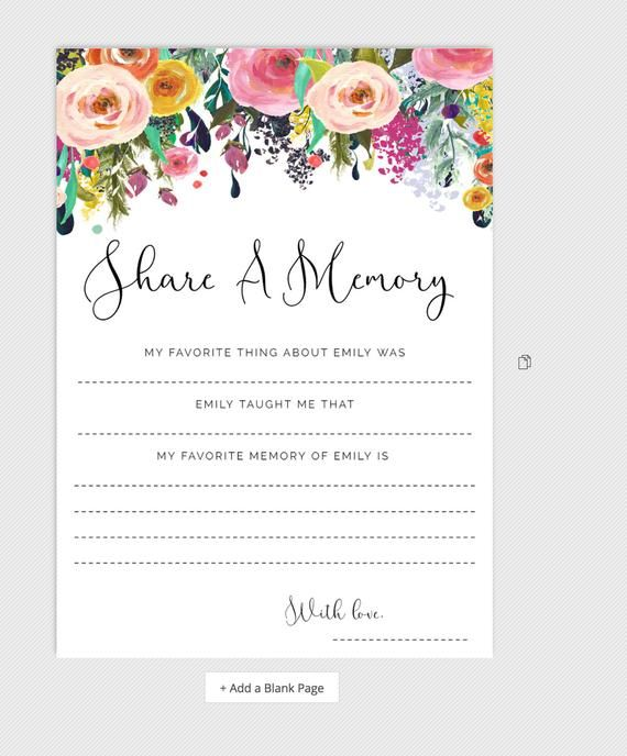 Share A Memory Card Funeral Flowers Celebration Of Life Cards
