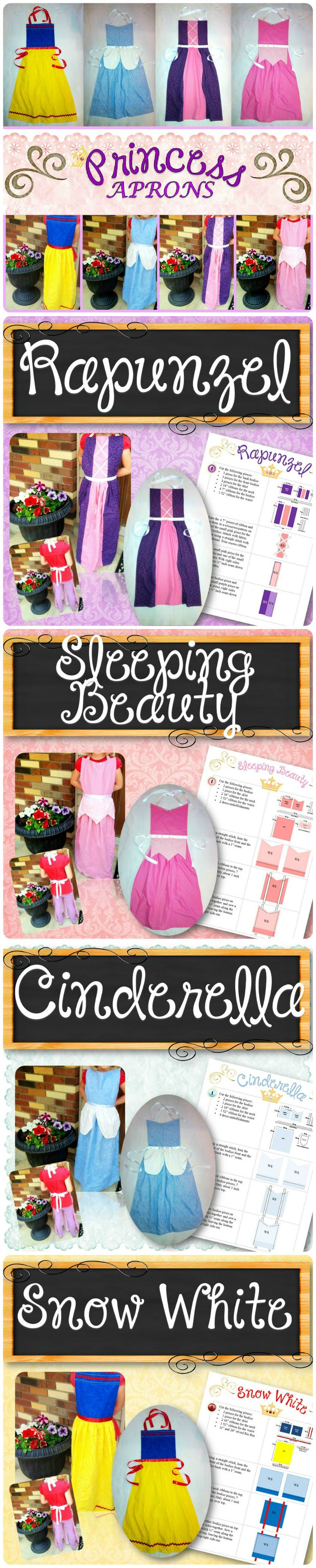 Four apron patterns for Cinderella, Sleeping Beauty, Rapunzel and Snow White. Step by step instructions and pictures are included that are simple enough for even beginners and young girls to make. The aprons will fit ages 3+ (pin/hem the bottom for younger girls) and all sizes...even adults can wear them to play with their kids and grandkids. Little girls can change princesses quickly without having to change their actual clothing and can easily share with friends. These will last for years!
