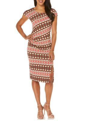 Rafaella Women's Petite Tribal Stripe Printed Dress - Hot Pepper - Xlarge Petite