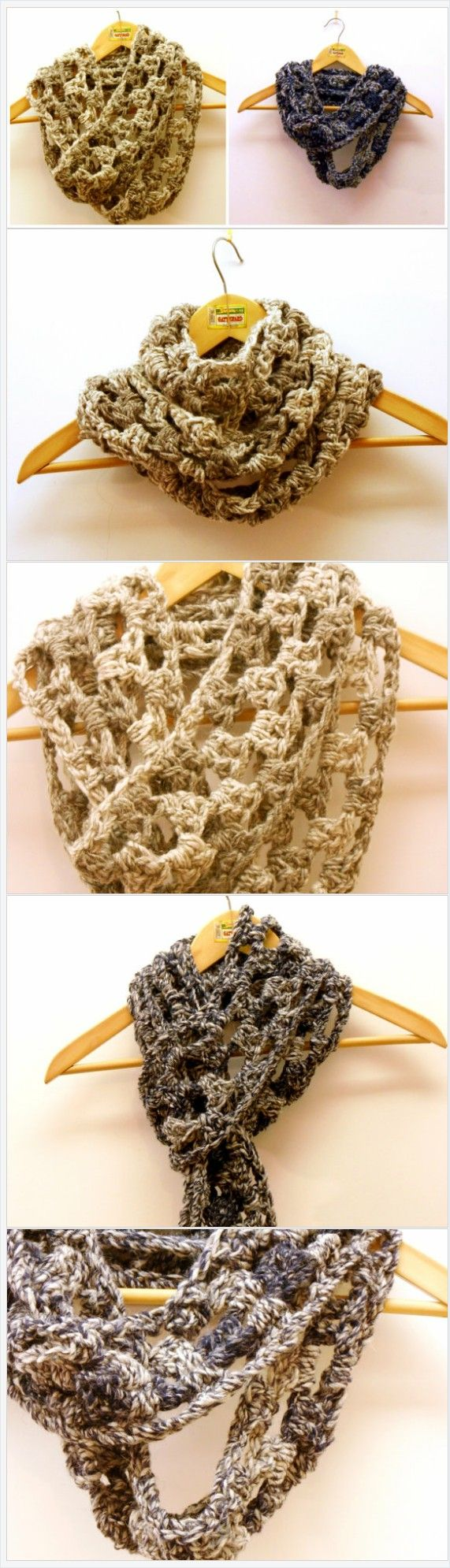 Chunky circle scarf, grunge infinity scarf, crochet cowl in alpaca and merino, in urban trending colors