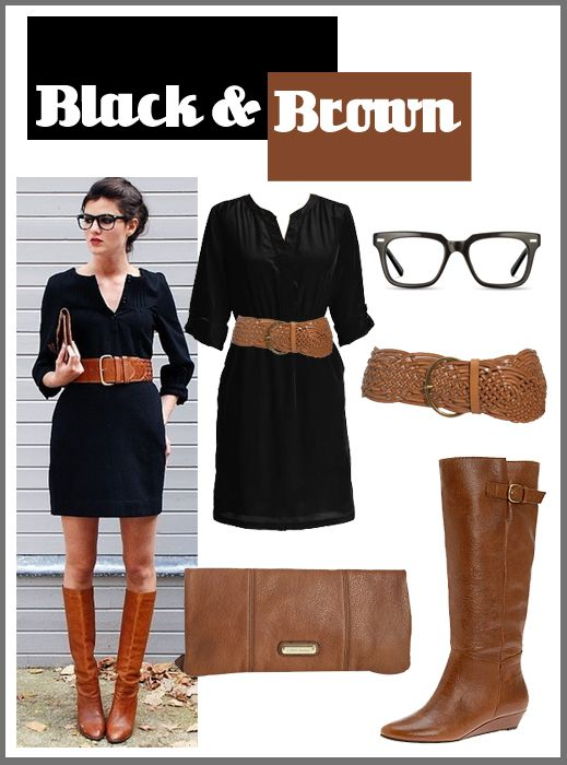 Black & Brown.: Wear Black, Brown Boots Black Dresses, Black Brown, Black And Brown Outfit, Cars Accessories, Hipster Glasses, Brown Together, Affordable Fashion, Black Cars