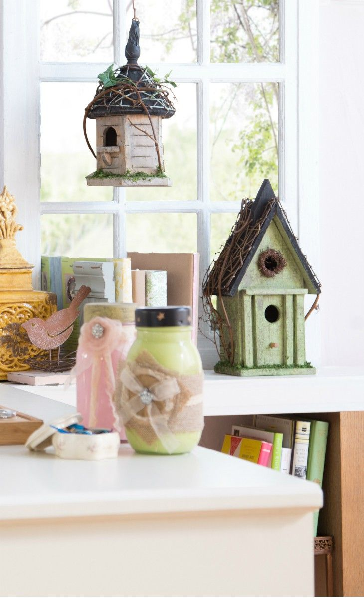 Bring the outside in with some cute bird houses!