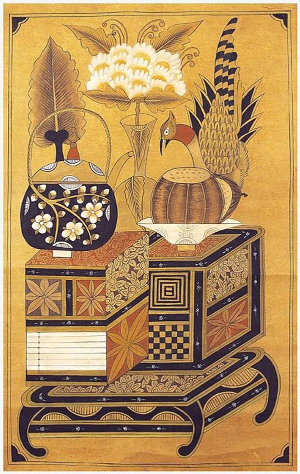 책가도 [Scholar's Accoutrements, 冊架圖] Joseon Dynasty, 19th Century] Paintings  Books and Scholar's Utensils