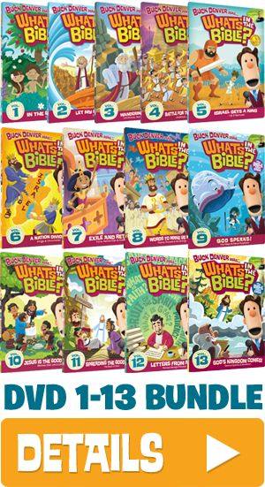 """DVDs 1-13 of """"Buck Denver Asks:  'What's in the Bible?'"""" by the makers of Veggie Tales - takes you from Genesis to Revelation with a central theme of redemption/rescue by God/God's plan intact!"""