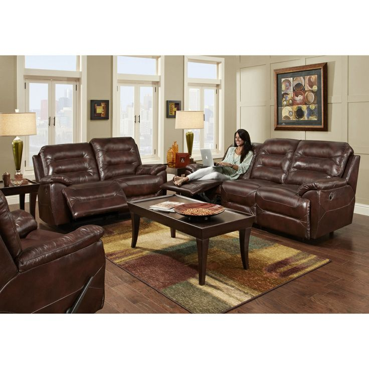 Franklin Furniture   Freedom 3 Piece Living Room Reclining Sofa Set In  Chocolate