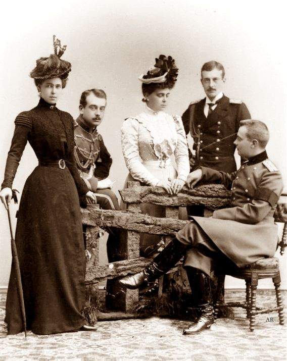Princess Beatrice of Edinburgh and her cousins Grand Dukes Boris, Cyril , Andrew and Grand Duchess Helena of Russia