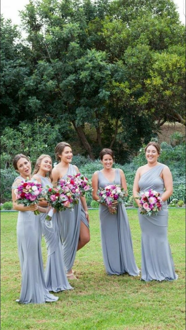 Beautiful mismatched gowns available at Nora and Elle Bridesmaids.