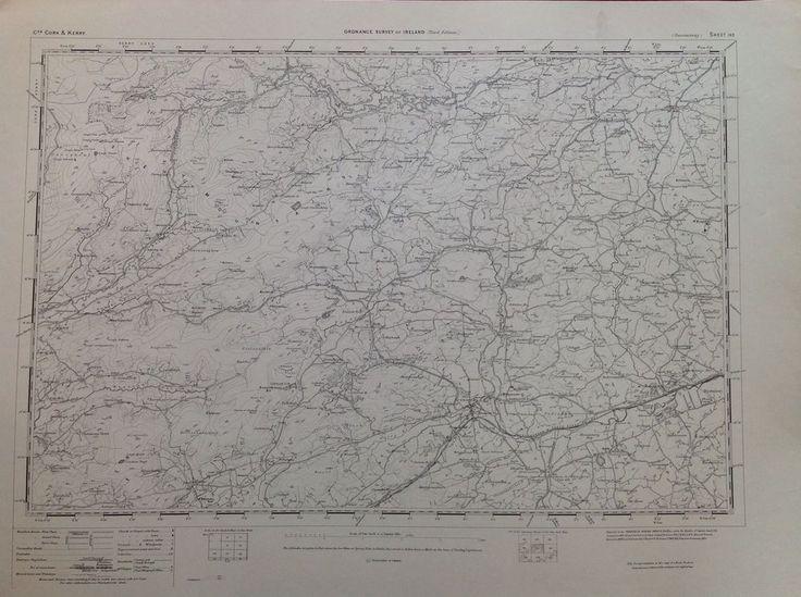 Ordnance Survey Map Dunmanway Cork Ireland One Inch 1900 Version Cartography
