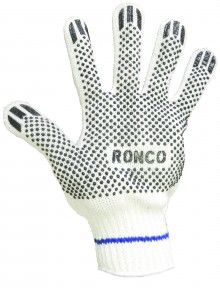 http://ca.en.safety.ronco.ca/products/74/ronco-poly/cotton-string-knit-glove RONCO Poly/Cotton String Knit Glove With PVC Dots  This glove offers economical hand protection with a strong grip. RONCO string knit gloves are a comfortable fit, are washable for reuse and are preferred by workers in automotive, food processing, warehousing and general maintenance applications. If you want quality, make sure you're using RONCO's Glove With the Blue Line!