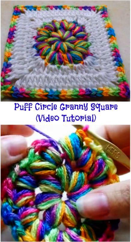 Puff Circle Granny Square (Video Tutorial)