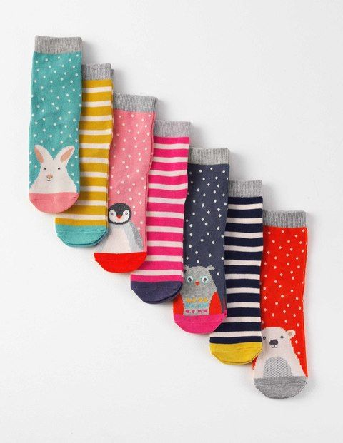 7 Pack Sock Box - Arctic Animals Prints - Mini Boden - Size 13.5-4.5 - $29.50