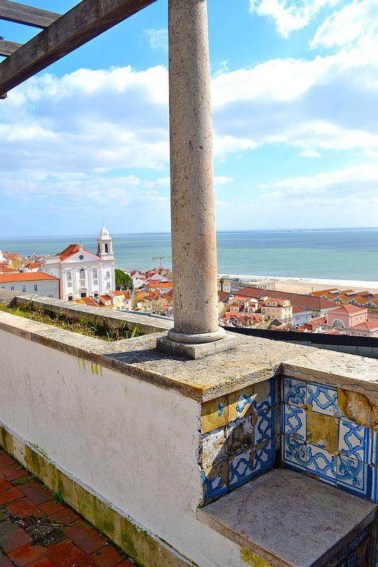 Blue on white tile patterns. Lisbon, Portugal