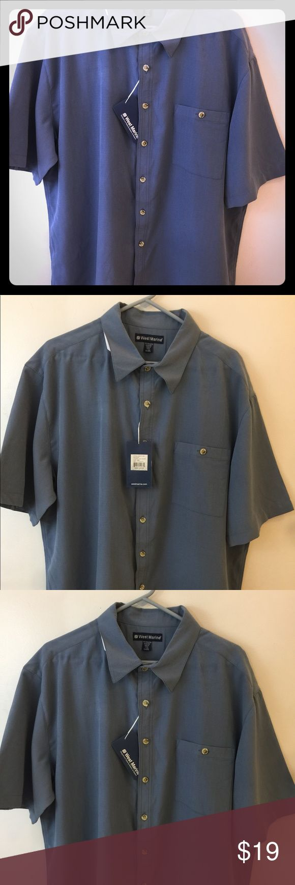 """West Marine 2XL Button Down Shirt NWT Mens NWT West Marine 2XL Button Down Shirt Designed and tested by boaters, for boaters • limited edition design  • 100% microfiber polyester • UPF 50+ sun protection  • Button thru pockets • Square bottom hem • Side slit's • Wear shirt tucked in or out  • value $29.99 Measurements laying flat: 28"""" chest  30 1/2"""" length along button seam West Marine Shirts Casual Button Down Shirts"""