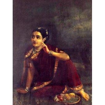 Radha waiting for Krishna/Expectation (Ravi Varma Print)