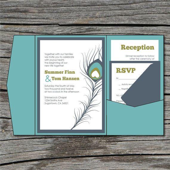 Hochzeit Einladung Basteln Pocketfold Pfauenfeder von ticklemeink