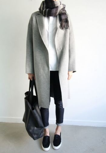 Grey long coat, denim and slip on sneakers