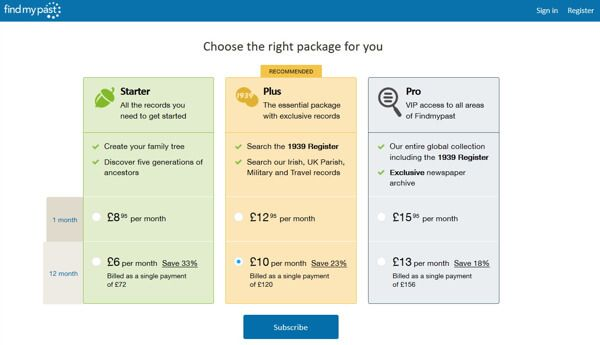 Findmypast.co.uk Introduces New Subscription Packages - For those in the UK, Findmypast.co.uk have recently revamped their subscription packages, and now offerStarter, Plus and Pro options. In addition to these, the1939 Register is now available to monthly subscribers for the first time.