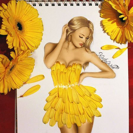 Kristina Webb's photorealistic pencil drawings are so inspiring and I find her fashion designs so fun! I love how she uses things like: flowers, playing cards and food to make the designs, it's so creative.