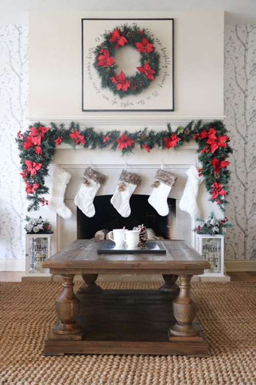 Elegant and Chic Christmas Mantel Makeover