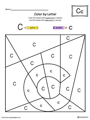 Lowercase Letter C Color-by-Letter Worksheet Worksheet.Fill your child's life with colors! The Lowercase Letter C Color-by-Letter Worksheet will help your child identify the lowercase letter C and discover colors and shapes.