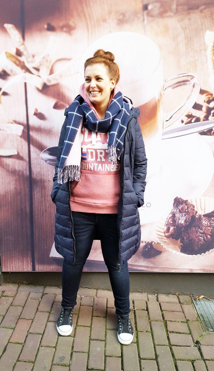 Outfit der Woche! Steppmantel: Tom Tailor Denim – Hoodie: Superdry – Jeans: s.Oliver – Wollschal: Tommy Hilfiger #fashion #ootw