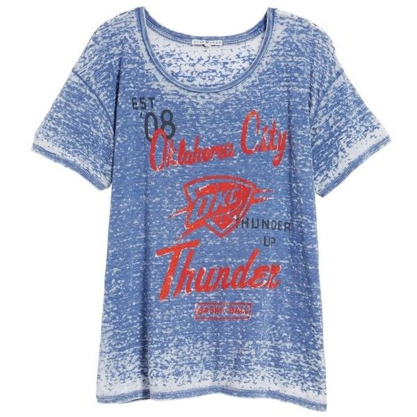 Women's Junk Food Nba Oklahoma City Thunder Burnout Tee (225715 PYG) ❤ liked on Polyvore featuring tops, t-shirts, liberty, burnout t shirt, nba tees, burnout tees, blue top and junk food clothing