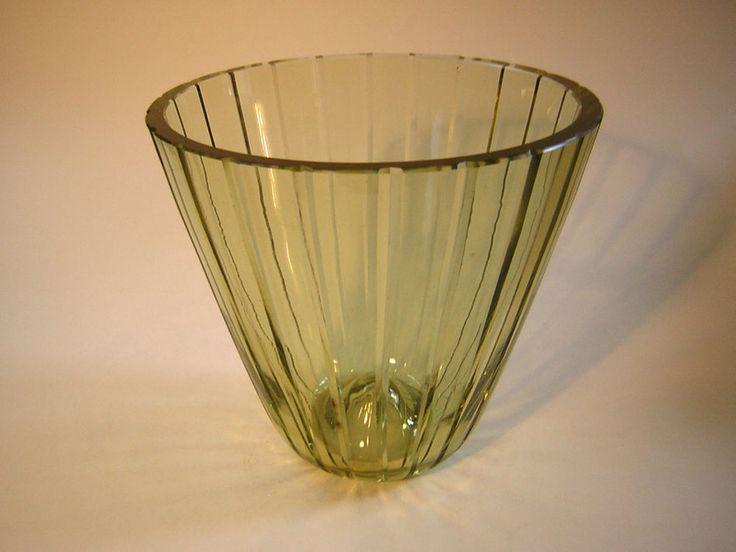 Art Deco,Glas,Vase,VLG,Weißwasser,Wagenfeld,1937,groß !