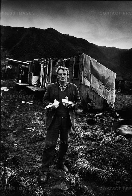 Steelworker with his racing pigeons, Consett, County Durham, UK, 1974