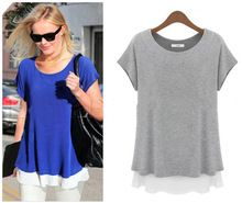 S-xxxxxl de mulheres mulheres camisa azul e cinza tamanho grande roupas 7034 - 9038(China (Mainland))