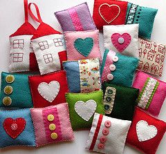 Lavender Sachets-cute lavender sachets from felt and patterned fabric