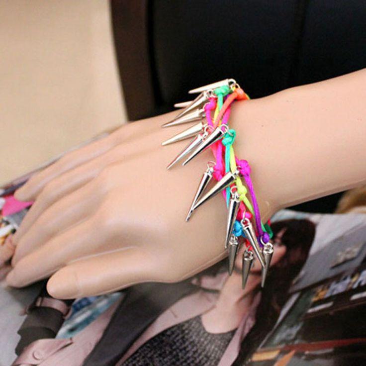 Серебро шипы кулон браслет панк дизайнер готический сплав заклёпка шипы вилочная часть браслеты для девочки ручной работы ювелирные изделия купить на AliExpress