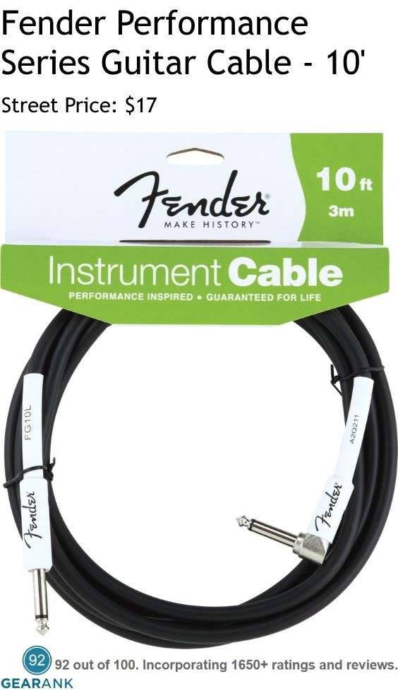 Fender Performance Guitar Cable. Features: 90% Copper Shield - 8mm Diameter PVC Jacket - Metal Connectors - Length: 10' - Available Lengths: 5' | 10' | 15' | 18' | 20' | 25' - Available Plugs: Straight or Angled.  For a detailed guide to The Best TS Instrument Cables see https://www.gearank.com/guides/guitar-cable