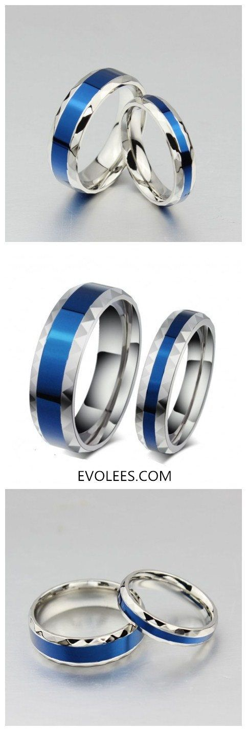 Blue In Middle Titanium Steel Promise Rings For Couple  Now $32.95 | Shop link-> http://www.evolees.com/blue-in-middle-titanium-steel-promise-rings-for-couple.html