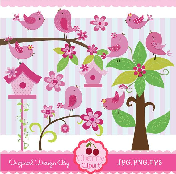 Pink and Polka dots  little birdies digital by Cherryclipart, $4.50