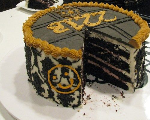 221B cake. Dark chocolate cake with raspberry mousse filling. this is very cool