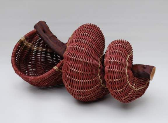 Larry Worley - Hand-woven Shell basket on Manzanita branch