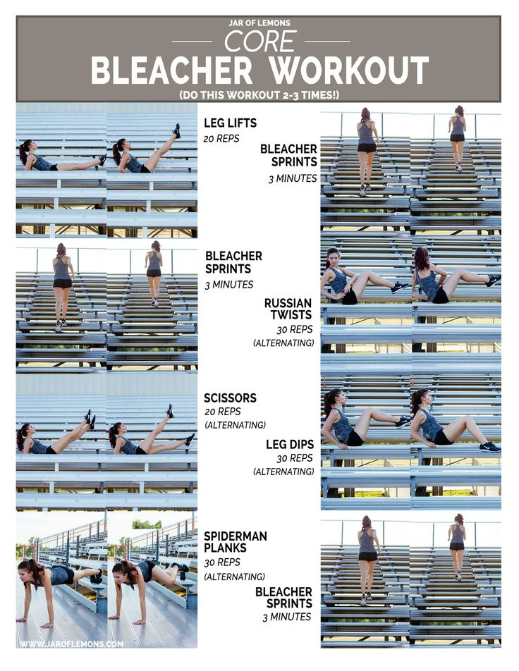 Core Bleacher Workout!                                                                                                                                                                                 More