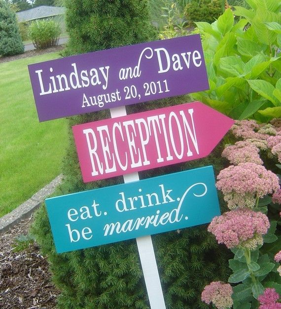 Directional Signs With Arrows. Wedding Welcome Sign