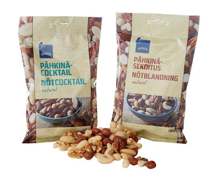 Rainbow-pähkinäsekoitus tai -pähkinäcocktail, 2,95 €. Norm. 4,29–3,79 €.  ALEPA, E-TASO