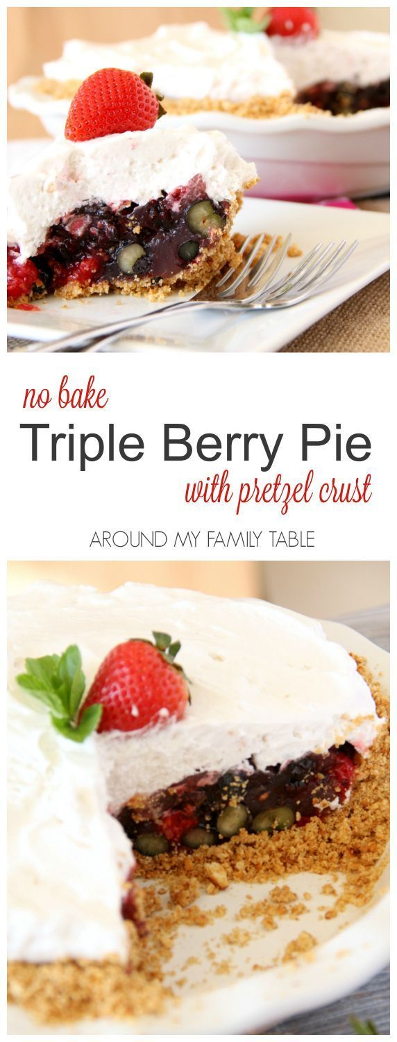 Once you discover how easy no-bake pies are...it's hard not to come up with new creations. This NO-BAKE TRIPLE BERRY PIE has a pretzel crust and is ready after a couple hours in the fridge.  #freshworks #freshworkscrowd #ad
