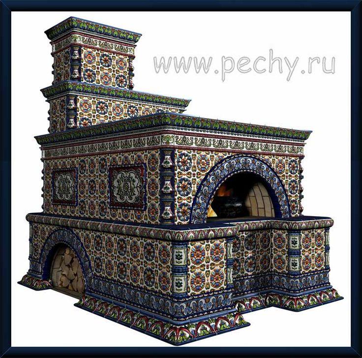 Русская печь с изразцами: дизайн-проект.-19 may in Russia Day russian stove.